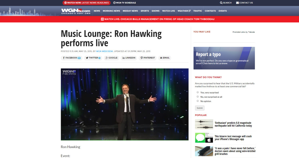 Ron Hawking on WGN May-2015